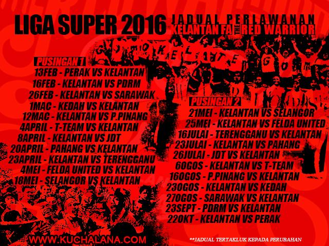 Jadual Perlawanan Liga Super 2016 Pasukan Kelantan