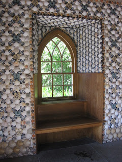 Arched window of the stone pavilion, interior decorated with shells, pebbles, and tiles, Queen Mother's Memorial Garden, Royal Botanic Garden, Edinburgh, Scotland