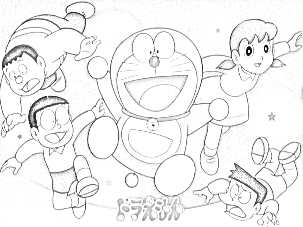 Kumpulan Gambar Kartun Doraemon Hitam Putih