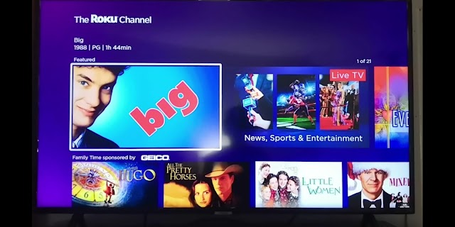 Roku Channel on Smart TV provides free movies