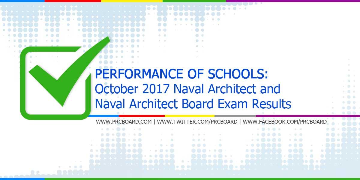 PERFORMANCE OF SCHOOLS: October 2017 Naval Architect U0026 Marine Engineer  Board Exams