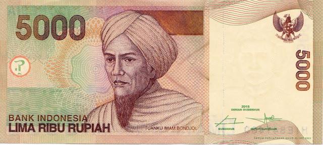 Indonesian Currency 5000 Rupiah banknote 2015 Tuanku Imam Bonjol