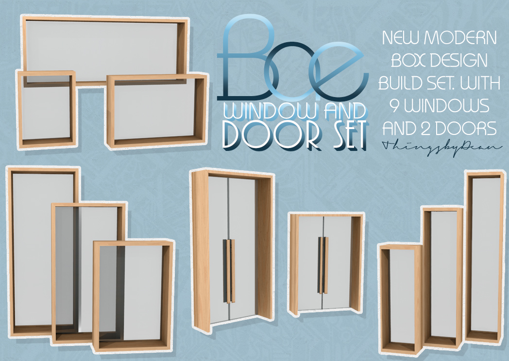 My sims 4 blog bae window and door set by dean for Glass windows and doors