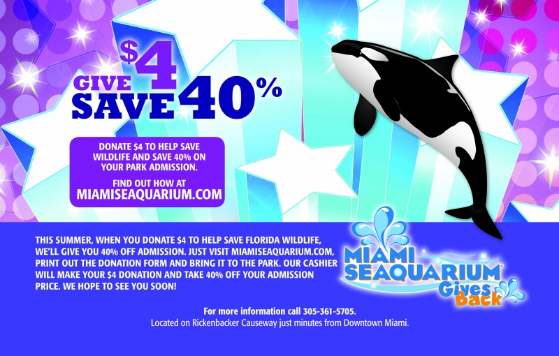 Discounts average $33 off with a Miami Seaquarium promo code or coupon. 50 Miami Seaquarium coupons now on RetailMeNot. Get $2 Off Daily Admission Ticket to Miami Seaquarium when you buy online. Include nearby city with my comment to help other 20% DISCOUNT TO MIAMI SEAQUARIUM. Include nearby city with my comment to help other users.
