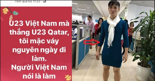 Việt nam nói là làm: Thanh niên mặc váy đi làm vì thua cá cược trận đấu U23 Vệt Nam – Qatar