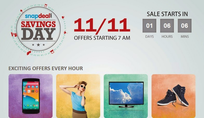 Snapdeal Savings Day Best Offers on 11th November