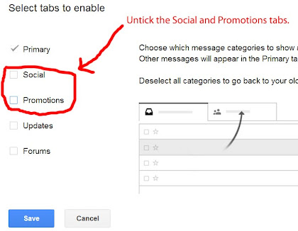 untick the social and promotions tabs