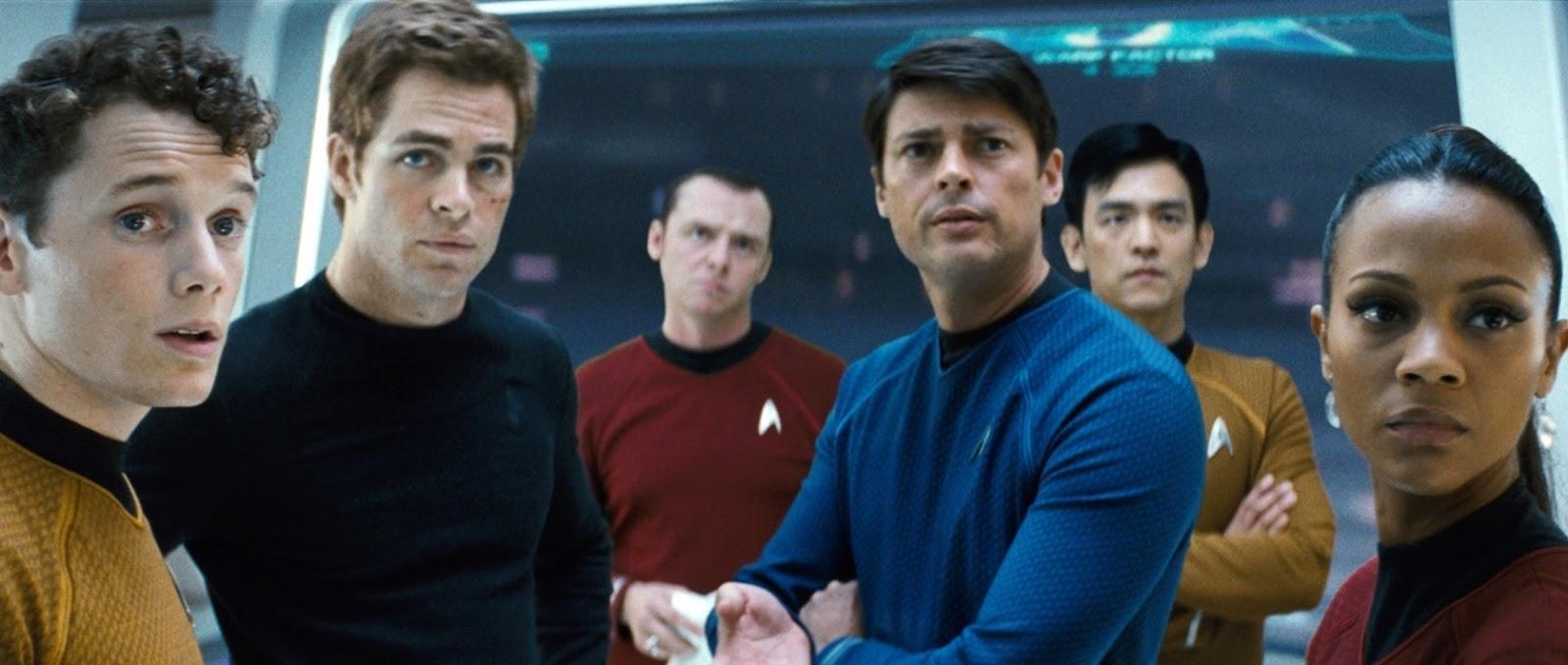 The Enterprise crew on the bridge