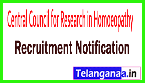 CCRH (Central Council for Research in Homoeopathy) Recruitment Notification