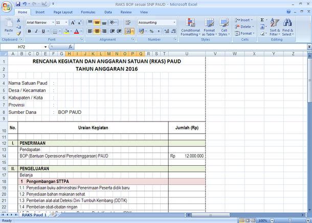 RKAS BOP Sesuai SNP PAUD Format Microsoft Excel