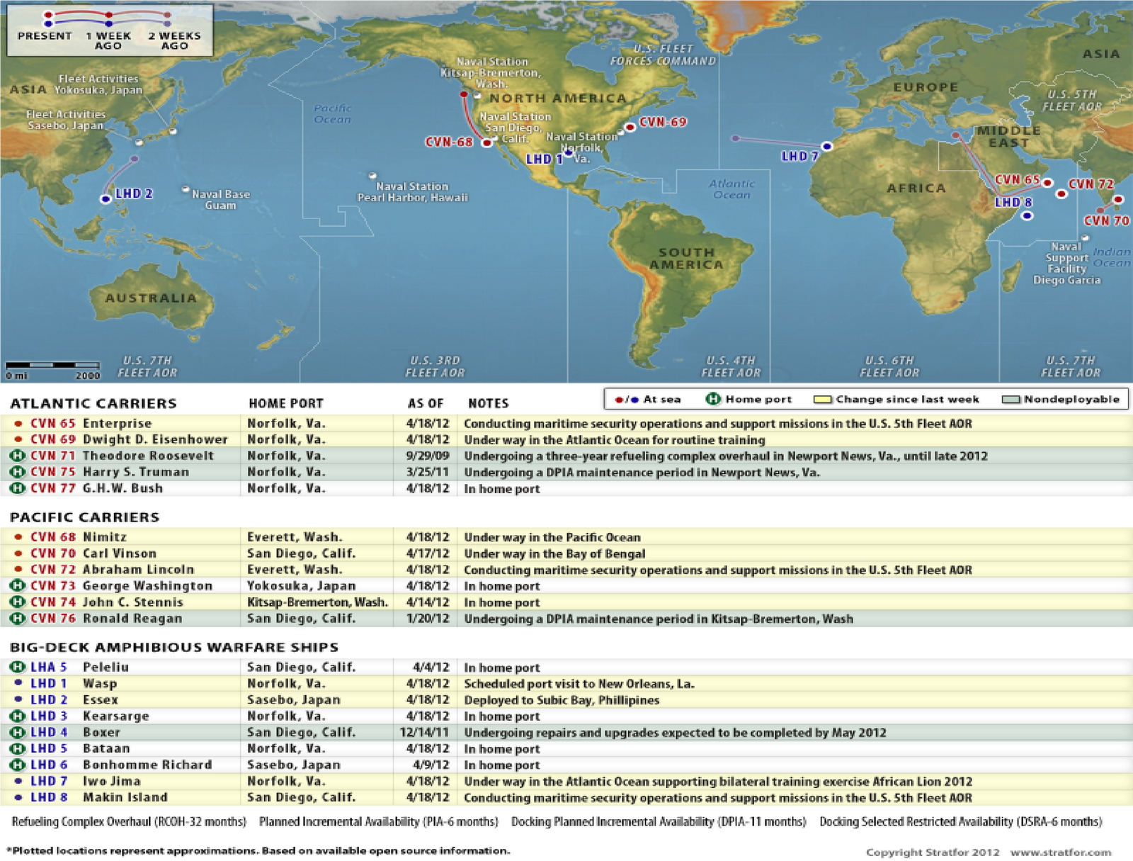 Us Naval Map 2012 Defence Economy: U.S. Naval Update Map: April 18, 2012