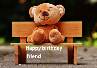 birthday image for friends with taddy sitting on chair