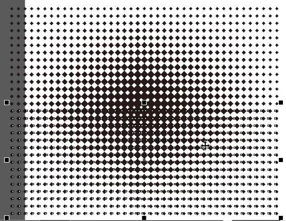 Duplikat Vertikal Object Halftone dan geser hingga pas