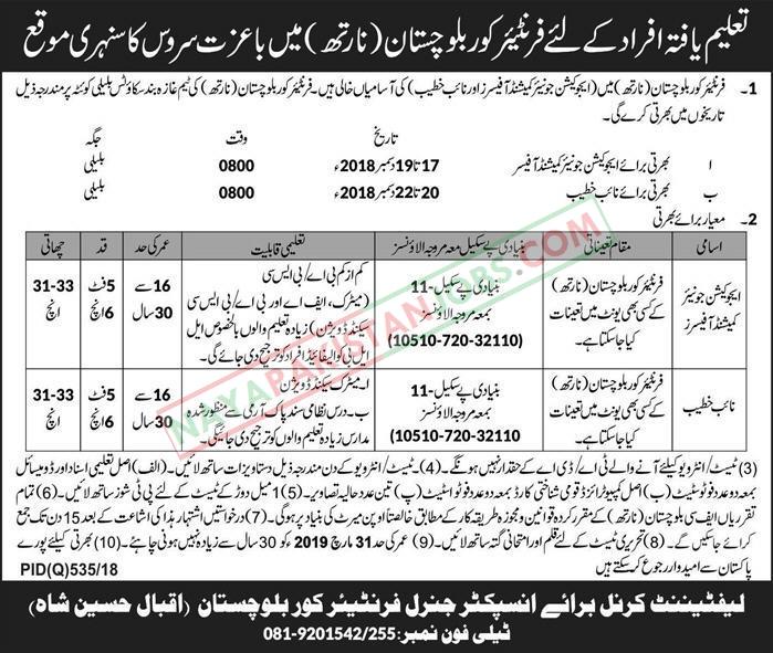 Latest Vacancies Announced in Frontier Corps Balochistan 16 November 2018 - Naya Pakistan