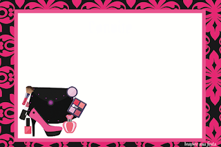 Para hacer invitaciones, tarjetas, marcos de fotos o etiquetas, para imprimir gratis de Fiesta de Maquillaje.