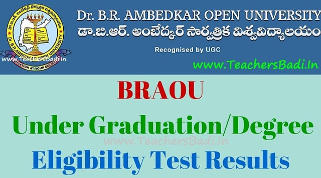 BRAOU UG Eligibility test results,Ambedkar Open University results, Degree entrance results 2017