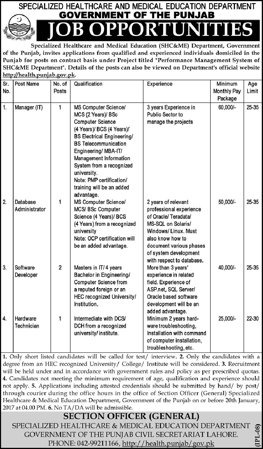 Specialized Healthcare and Medical Education Department Lahore Jobs