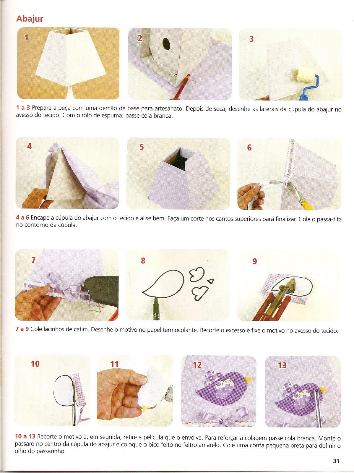 Abajur Decorado Com Tecido Artesanatos ~ Artesanato Para Decoração De Quarto