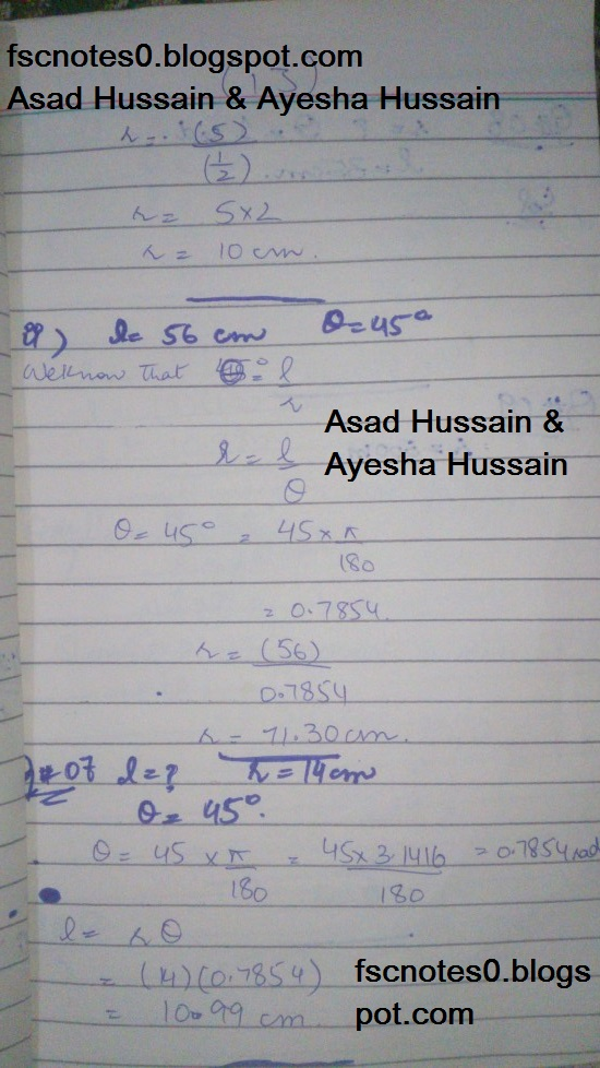 FSc ICS FA Notes Math Part 1 Chapter 9 Fundamentals of Trigonometry Exercise 9.1 Question 4 - 7 by Asad Hussain & Ayesha Hussain 2