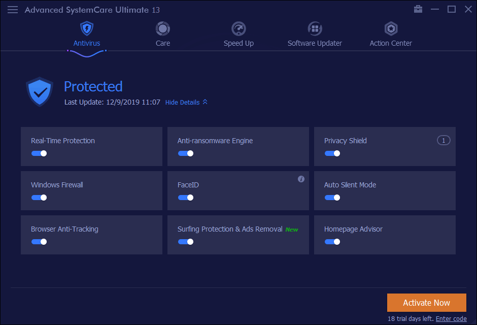 Advanced SystemCare Ultimate Protection Module Screenshot
