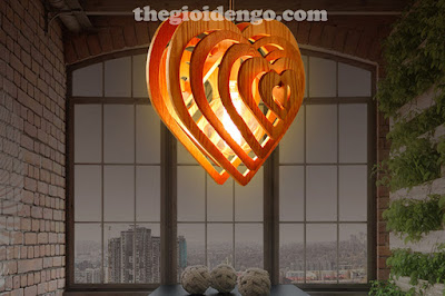 Thế Giới Đèn Gỗ - Đèn gỗ trang trí trái tim 3