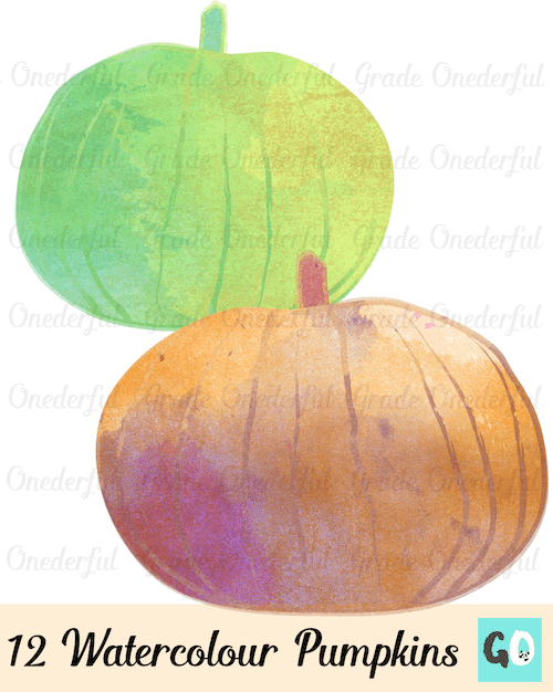 Clipart: 12 beautiful watercolor pumpkins in a variety of gorgeous colors. GradeONEderful.com