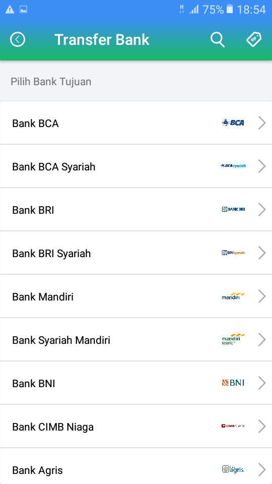 Pilih Bank Tujuan Transfer Saldo Payfazz