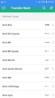 Pilih Bank Tujuan Transfer Saldo Payfazz