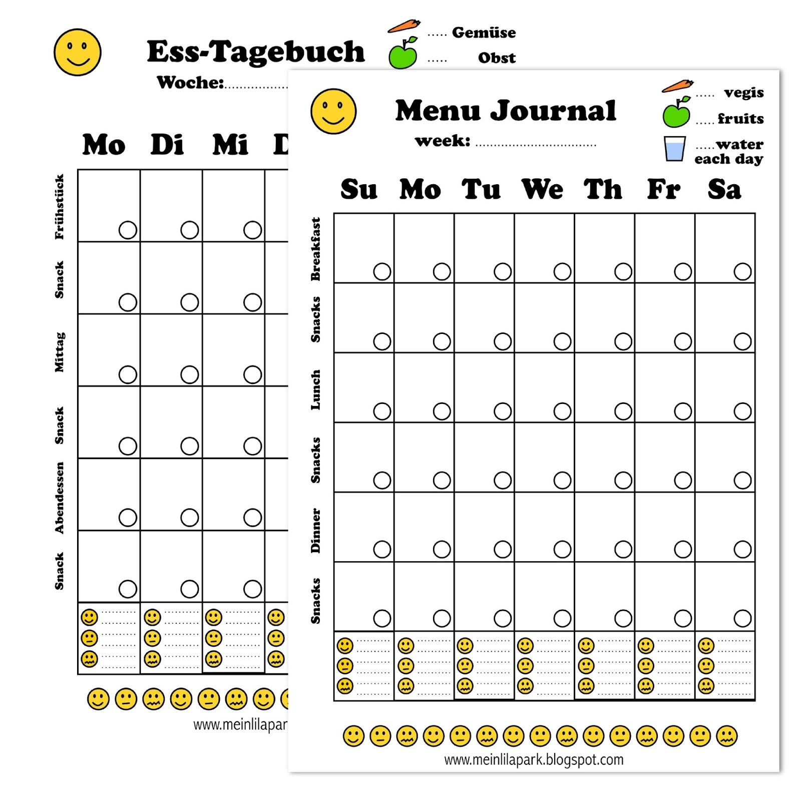 Free printable menu journal   ausdruckbares Diät Tagebuch
