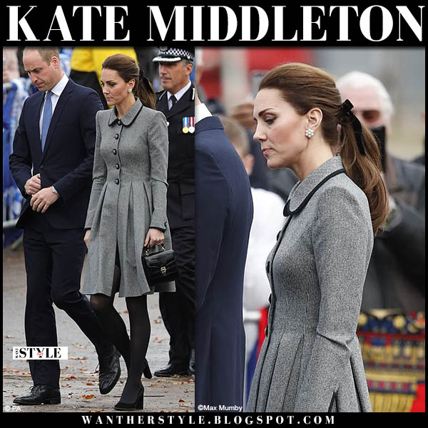Kate Middleton in grey tweed catherine walker coat dress with black croc bag and black pumps royal family winter style november 28