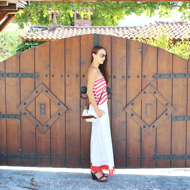 Red and white striped maxi dress outfits