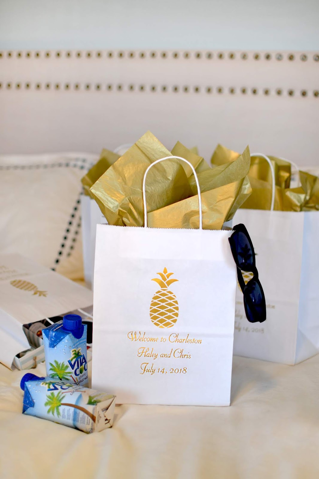 White Welcome To Charleston Wedding Guest Gift Bags