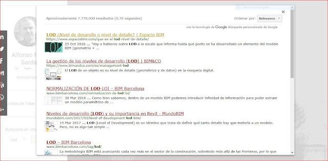 captura de pantalla con los resultados de la búsqueda de LOD