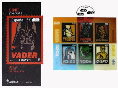 Sobre con sellos de La Guerra de las Galaxias