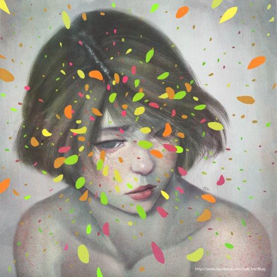 Lek Chan deviantart arte pinturas digitais surreais mulheres glitches