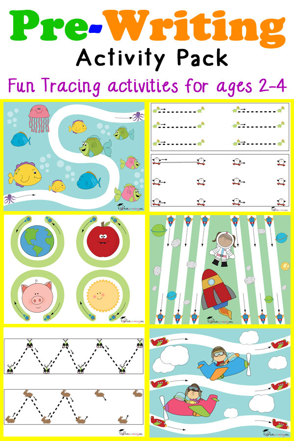Pre-Writing Activity Pack for toddlers and preschoolers ages 2-4 featuring fun tracing worksheets to help develop prewriting skills.