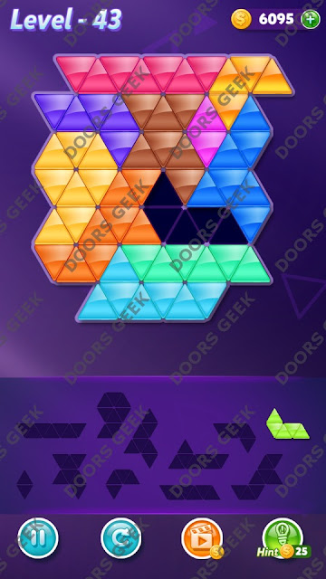 Block! Triangle Puzzle Challenger Level 43 Solution, Cheats, Walkthrough for Android, iPhone, iPad and iPod