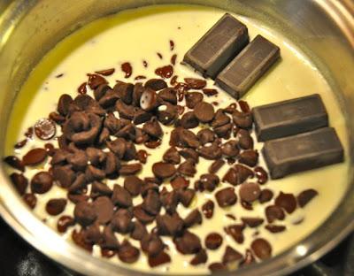 Blonde buckeye bars heavy whipping cream with chocolate