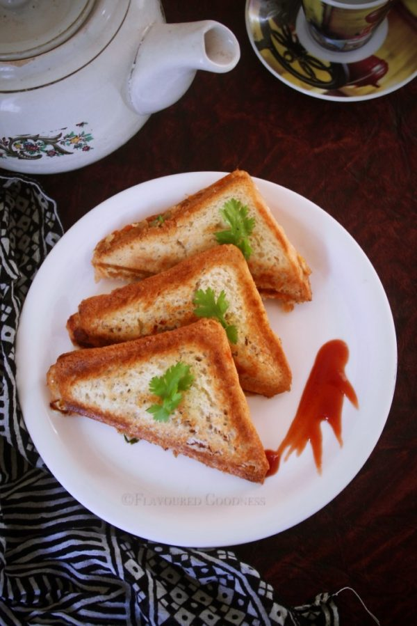 how to make Pav Bhaji Sandwich | Toast Sandwich with leftover pav bhaji