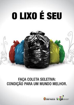 cartaz sobre a coleta seletiva e sua responsabilidade