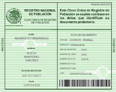 CURP verde por primera vez gratis con RFC y Homoclave para Mexicanos y Extranjeros original