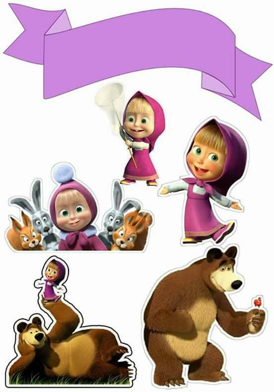 Masha And The Bear Free Printable Cake Toppers Oh My