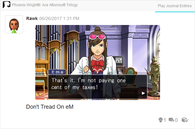 Ema Skye taxes tax evasion Phoenix Wright Ace Attorney Trilogy 3DS Miiverse Capcom Nintendo