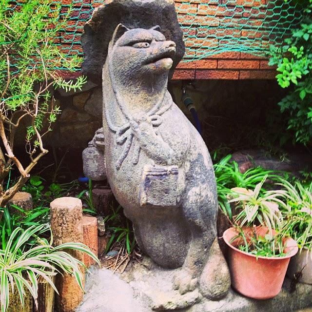Tanuki raccoon dog in Shigarakiyaki pottery, Yanaka, Tokyo.