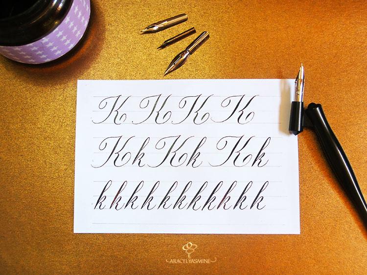 Caligrafia copperplate, ¿cómo escribir la letra K?