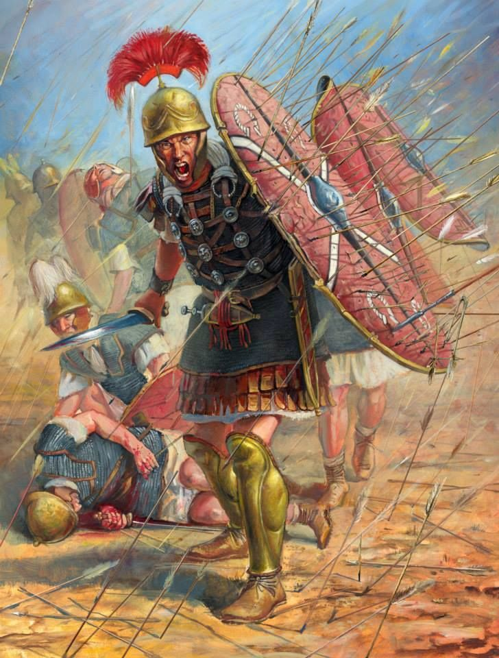 Centurions fighting alongside the legionaries they commanded