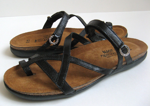 Naot Footwear Black Leather Sandals Womens Size 9 Narrow 40