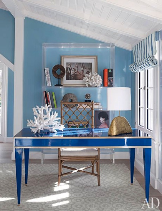 lucite and coral blue home office, bamboo chair,