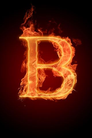 3D iPhone Wallpapers: Fire b letter iPhone Wallpaper