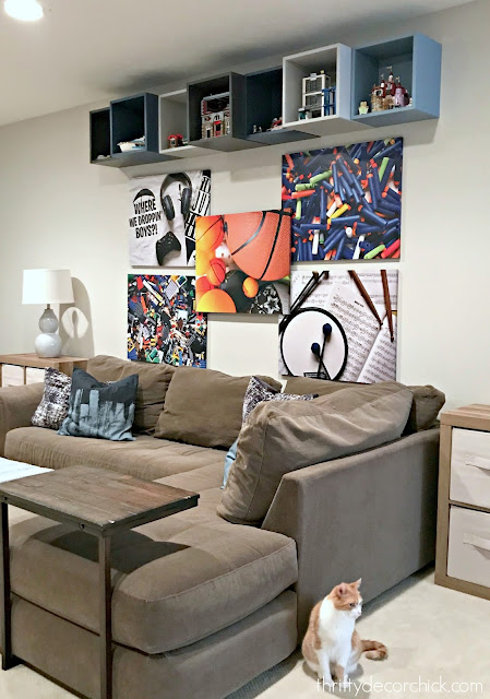 Fun DIY art wall with canvas art and EKET boxes